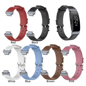 5 가지 색상의 이중 송아지 가죽 및 리치 정품 가죽 스트랩 가죽 시계 밴드 교체 용 팔찌 strap for fitbit Inspire / Inspire HR