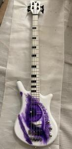 Rare 4 cordes Symbole du Prince Un œil blanc Guitare basse électrique 26 Frets Black Block Inlay Hardware Noir
