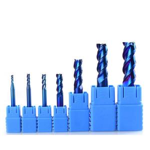 ¡Promoción! 7pcs 2-12MM azul recubierto de carburo de la flauta 3 Molinos de extremo de corte Fresa espiral Router Bit CNC molino de extremo