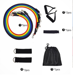 11pcs / set Fitness Resistance Band Tube Yoga Gayamine Exchl Rope Training Expander Door With Handle Srad Home HH9-3003