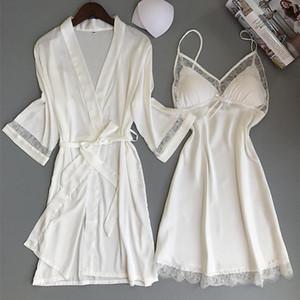 Сексуальных женщины Rayon Кимоно Халат белый Невеста невеста Свадебного Robe Set уравновешивание шнурок пижама Повседневная Главная Одежда Ночной