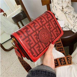 Las mujeres FF Letter bolsas de hombro del monedero del bolso de la vendimia ancha correa para el hombro Crossbody bolsas impresas bolsa de mensajero de los bolsos de la madre regalo del día de la PU F