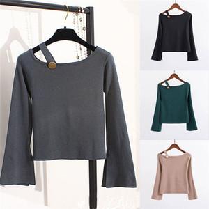 Mulheres Lady Summer Long Sleeve Único Ombro Casual TShirt Alças solto Tops T Shirt S-2XL