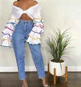 Womens Ruffle luva Lantern camisas Primavera Designer OL lapela pescoço contraste cor da camisa forma fêmeas soltos roupa ocasional