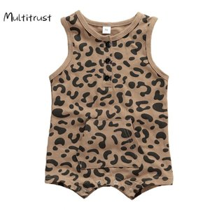 Multitrust Bebek Kız Erkek Rompers Leopar Kolsuz Cep Tulumlar Kıyafetler Sevimli Bebek Boys Tek parça Romper