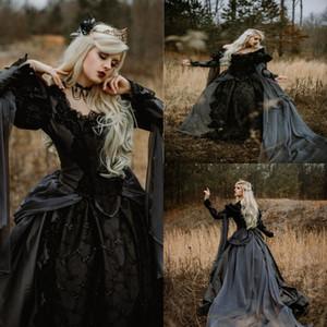 Старинные средневековые готические черные свадебные платья 2020 с длинными рукавами кружева аппликация Часовня Поезд Люкс Свадебные платья халата де mariée выполненные на заказ