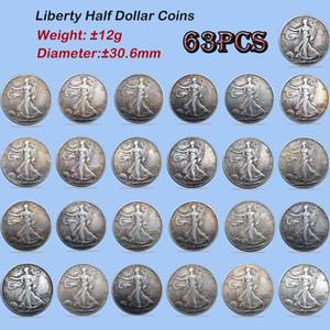 EE.UU. sistema completo de Libertad que camina monedas de la copia 30.6mm 63PCS Diferentes versiones actualizadas monedas antiguas monedas de plata plateado Colores