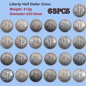 USA Full Silver Walking Liberty Copy moneda 30.6mm Conjunto Conjunto Conebla Monedas Monedas Old 63PCS Colores Versiones Diferencia Fecha Higsd