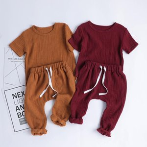 Baby Boys Sets Summer Infant Cotton Newborn Shorts Sleeve T-shirt+Pants Baby Girl Cotton Linen Pajamas Clothes Outfits CY200515