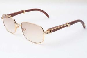 Tomada de madeira Novos óculos de sol, óculos de sol de estilo quadrado, 7381148 Óculos de madeira premium Luxo natural fábrica 56-21-135mm, tamanho: