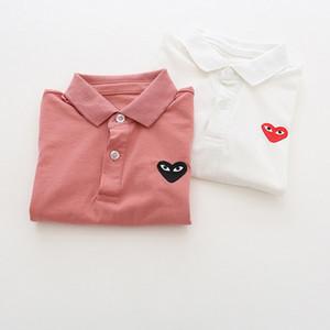 Garçons Enfants Designer Polos Mode Enfant été Coeur Broderie Hauts Enfants Solide Couleur Lapel manches courtes Marque Polos T-shirts