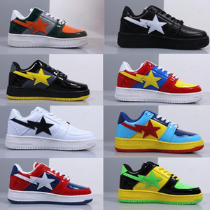2019 Fashion Stitching Color Leather Skateboard Flat Shoes Men's Shoes Classic Scarpe casual per uomo a cinque punte Star Print