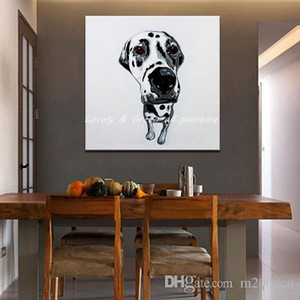 Pintado a mano Cool Animal Dog Art Painting Modern Abstract Oil Painting On Canvas Decoración para Room Home Deco A129