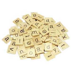 100Pcs set English Words Wooden Letters Alphabet Tiles Black Scrabble Letters & Numbers For Crafts Wood