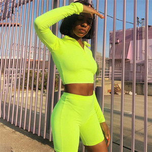 New Female Fluorescence Fitness Two Pieces Sets 2020 Autumn Full Sleeve Zipper Turtleneck Tops And High Waist Shorts Suits