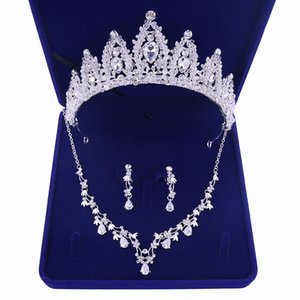 Luxury Cubic Zirconia Tiara and Necklace Earring for Women Wedding Jewelry Set for Bride Zircon Crowns