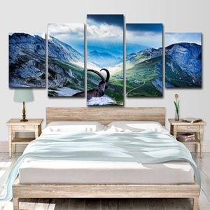 HD Impreso 5 piezas Capra Pyrenaica Pintura de la lona Valle del Ibex Posters Wall Pictures for Living Room Envío gratis