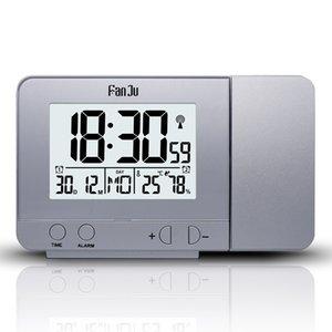 Sıcaklık ve Zaman Projeksiyon / USB Şarj / Kapalı Sıcaklık ve Nem Danışma Saat ile FanJu FJ3531 Projeksiyon Çalar Saat