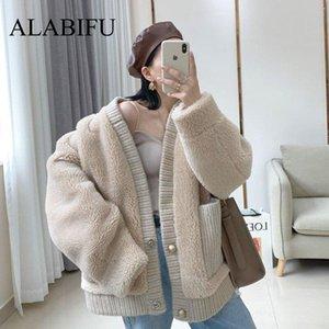 ALABIFU Faux-Pelz-Mantel-Frauen 2019 beiläufige Pelz starke warme Faux Lammfelljacke lose Wintermantel Frauen Teddy koreanisch