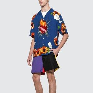 20FW PLIEASUREES T-shirt Heart Flowers Hawaii Style Tee Short Sleeve Summer Men Women Couple Breathable Buttons Street Yellow Blue HFHLTX081
