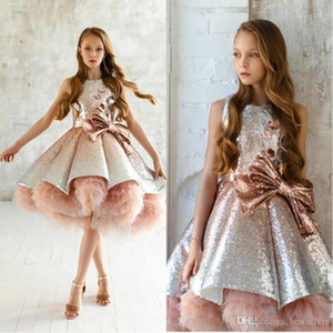 2020 neue Prinzessin Pailletten Erröten rosa Mädchen-Festzug-Kleid Tiered Rüschen Tüll mit Rüschen besetzten Blumen-Mädchen kleiden Puffy Abendkleider