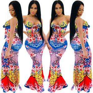 Женские летние платья с цветочным принтом Sexy Fashion Слинг Fishtail Besch Dress Повседневные топы Длинные юбки Наряды Наборы Вечерняя одежда S-XL