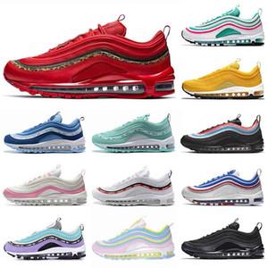 Nike Air Max 97 Femmes Hommes Baskets léopard rouge chaussures de marque de la marque OG SE Mode arc-en-Neon Laser en cuir triple baskets noir sport blanc plein NIK