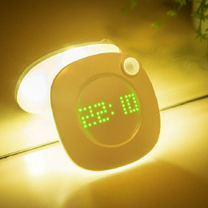 Banyo Yatak odası Koridor Duvar Işık için Zaman Saati ekran ile PIR Hareket Sensörü LED Duvar lamba Mıknatıs Kapalı Gece lambası