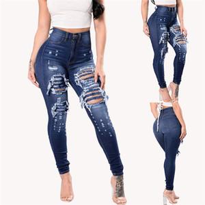 Womens Button Zipper Fly Jeans Primavera Magro Hole Jean lunghi pantaloni della matita ragazze vita alta pantaloni di modo