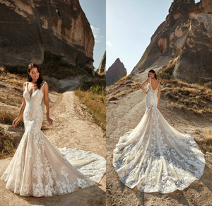 Eddy K 2021 Wedding Dresses Sexy Deep V Neck Open Back Mermaid Bridal Gowns Custom Made Lace Appliques Sweep Train Wedding Dress