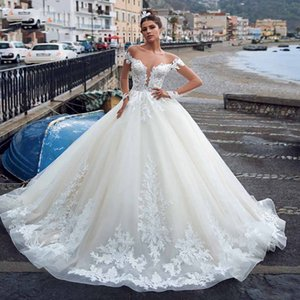 Modern Bola ocidentais Vestido de vestidos de casamento 2020 Sheer Illusion Long Neck Sleeve Appliqued Ruched longa vestidos de noiva Custom Made Robe de mariee