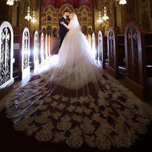 Горячая продажа собора длина Bridal вуаль с гребними кружевами аппликации один слой 3 метра длинняя вознаграждение