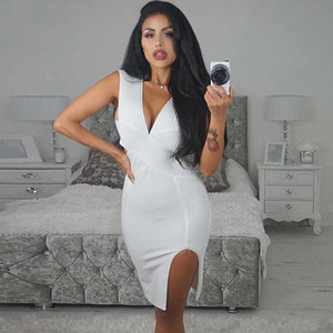 Seamyla New Fashion Bodycon Bandage Dress Women Sexy Deep V Neck Split Winter Dresses Sleeve Evening Party Night Out Dress 2020
