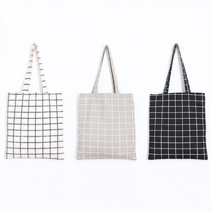Fashion Student Durable Cotton Flax Women Linen Single Shopping Bag Tote 2020 Female Plaid Check Shoulder Canvas Bags Lepnd