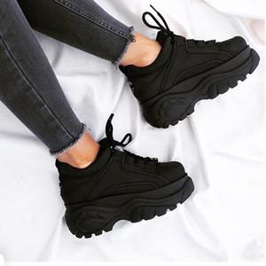 Di vendita calda di gomma / cuoio / poliestere del cuoio genuino di modo di Londra papà scarpe originali di fabbrica bufalo nero 1339 della piattaforma delle scarpe da tennis