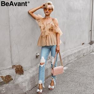 Fashion-Off Schulter Womens Tops und Blusen Sommer 2019 Backless Sexy Peplum Top weibliche Vintage Rüschen Mesh Bluse Shirt BlusasMX190827