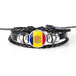 2019 Nuevas Mujeres Hombres Cuerda De Cuero Negro Con Cuentas Brazalete Brazalete De Cristal Bandera Nacional de Andorra Andorra Copa del Mundo Aficionado al fútbol Joyería Envío de la gota