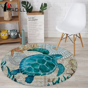 Miracille Coral Velvet Computer Chair Floor Mat Sea Turtle Octopus Printed Round Carpet for Children Bedroom Play Tent Area Rug T200529