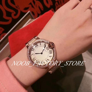 Luxury Factory Blue Balloon Rose Gold 36mm Women's Watches Diamond Bezel Strap Diamond Case Switzerland Quartz Movement Lady Wristwatches