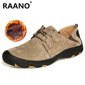 Plus Size 38-47 New High quality Comfort Genuine Leather Casual Shoes Men Loafers Suede Men Winter Plush warm Shoes Zapatos