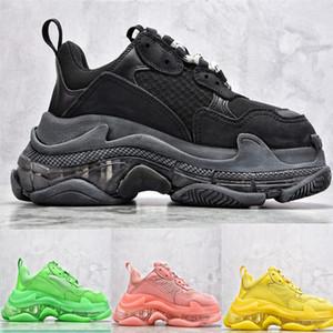 Yüksek kaliteli Paris Triple-S 17FW Kristal Yeşil moda baba Ayakkabı Platformu Üçlü Erkek Kadın Vintage Kanye Eski Gran için gündelik Sneakers S