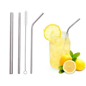 3pcs Metal Stainless Steel Straw Set Straight Tubes Bent Drinking Reusable Straws With Bag Cleaning Brush Party Bar Accessories