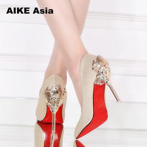 Sexy High Heels обувь женщина насосы Red Gold Silver высокие каблуки обуви женщины дамы Свадьба партии +2018 Лепнина