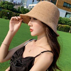Femmes Summer Cotton Straw Hat Sun Beach capeline Pliable Voyage Packable large Brim Sun Protection Cap Crochet Pêcheur