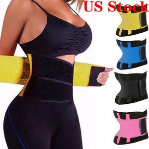 US Stock! Women Fitness Waist Cincher Waist Trimmer Corset Ventilate Adjustable Tummy Trimmer Trainer Belt Slimming Belt OPP Packing