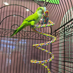 1 / 1,5 / 2M Pet Parrot Chew corda Bell Bird Perch Altalena Coil Cockatiel Cage Hang giocattolo