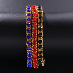 Iced Out 1 Row Tennis Armband Vollfarbig Rot / Blau / Schwarz A + Strass Gold Silber Farbe Mode Hiphop Armbänder Schmuck Bling Armreif