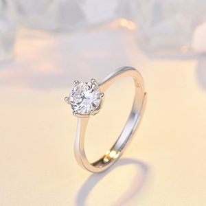 925 sterling silver ring female European and American simple zircon simulation 1 carat diamond ring proposal ring wedding jewelry