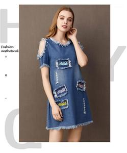 Бисероплетение Щитовые джинсовой платья способа выдалбливают Pure Color Crew Neck Одежда женская Повседневный письмо Вышивка платье Womens конструктора