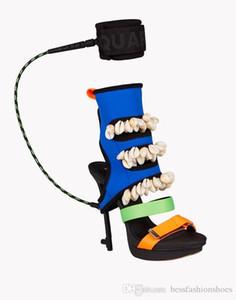 Sandali donna Stivali estivi Nuovo design Patchwork Shell Multicolore Surfer's Paradise Tacchi alti Platfrom Scarpe da donna Cinturino alla caviglia Pompe da donna